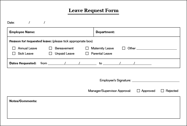 Request For Leave Form Template Template Examples – Sample Leave Request Form
