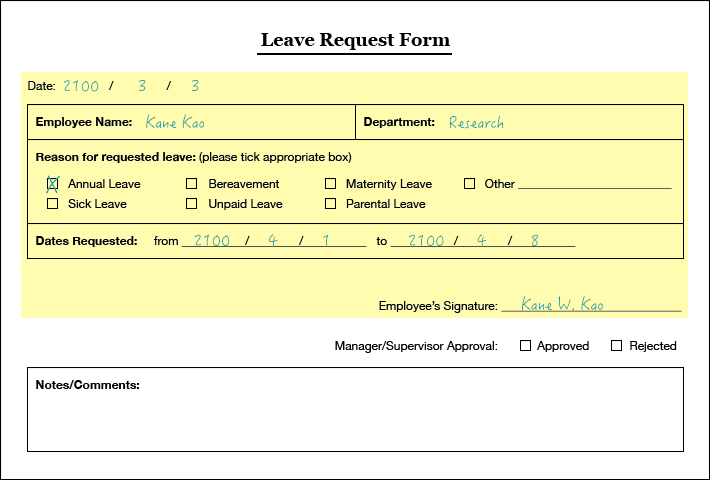 OmniBPM Documents – Format of Leave Form
