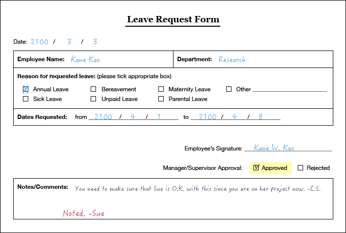 OmniBPM Documents – Leave Application Form for Employee