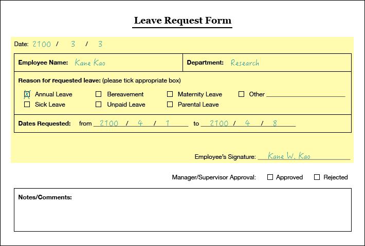 Format Of Leave Application Form 5 Leave Application Format for – Leave Application Format for Employee